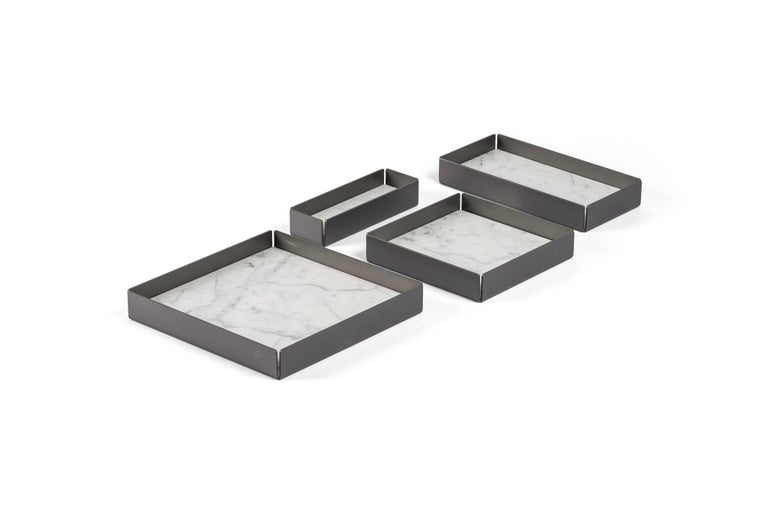 For Sale: White (Bianco Carrara) Salvatori Set of Fontane Bianche Modular Trays by Elisa Ossino 2