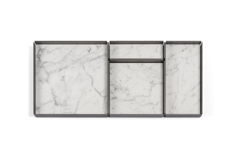 For Sale: White (Bianco Carrara) Salvatori Set of Fontane Bianche Modular Trays by Elisa Ossino 3