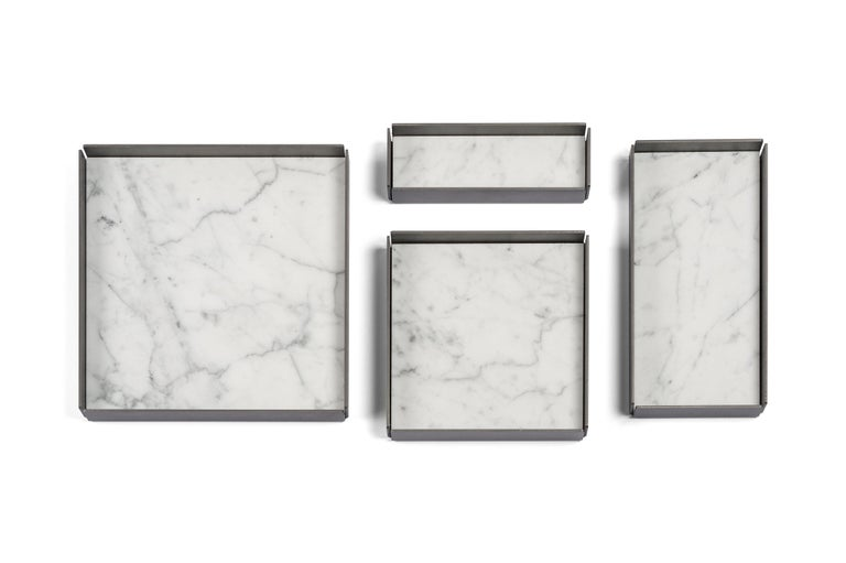 For Sale: White (Bianco Carrara) Salvatori Set of Fontane Bianche Modular Trays by Elisa Ossino 4