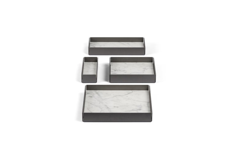For Sale: White (Bianco Carrara) Salvatori Set of Fontane Bianche Modular Trays by Elisa Ossino 7