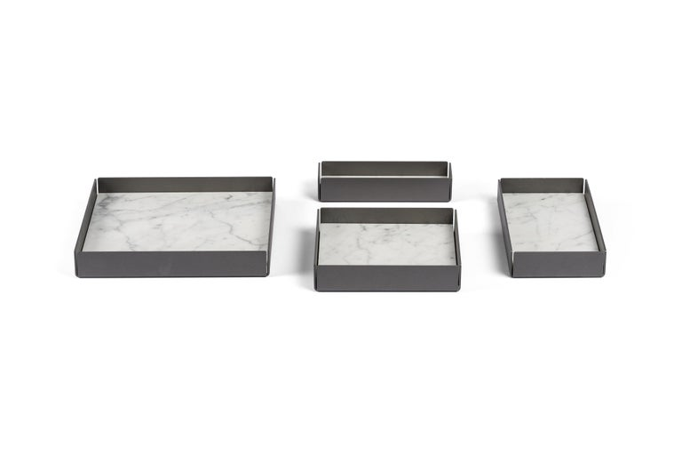 For Sale: White (Bianco Carrara) Salvatori Set of Fontane Bianche Modular Trays by Elisa Ossino 8