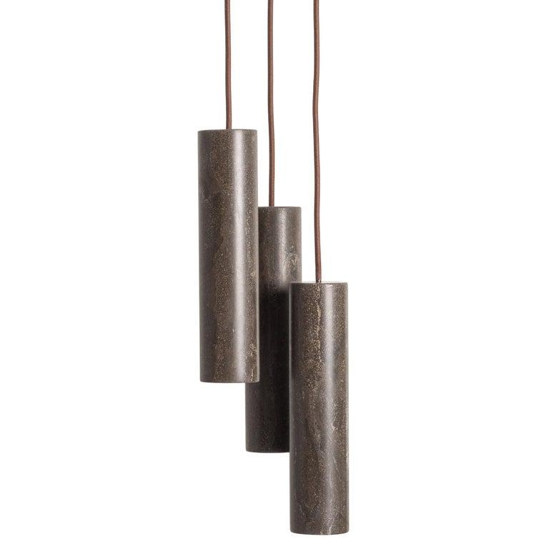 For Sale: Brown (Pietra d'Avola) Salvatori Silo Cluster Pendant Light by David Lopez Quincoces