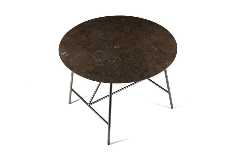 For Sale: Brown (Pietra d'Avola) Salvatori Small W Round Dining Table 2