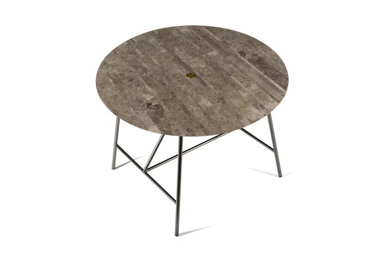 For Sale: Gray (Gris du Marais) Salvatori Small W Round Dining Table 2