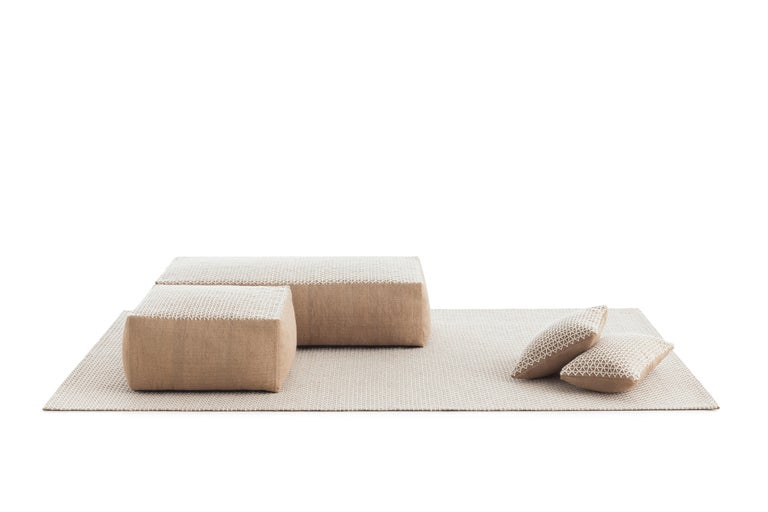 For Sale: undefined (White) GAN Raw Large Pillow in Jute by Borja García 2