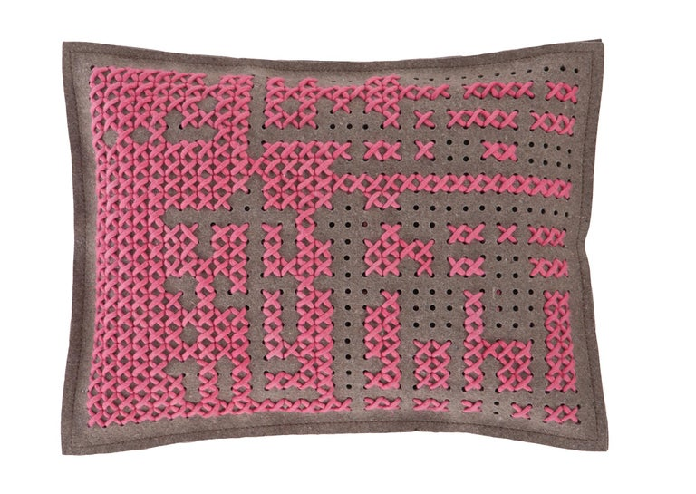 For Sale: undefined (Pink) GAN Canevas Abstract Large Pillow by Charlotte Lancelot