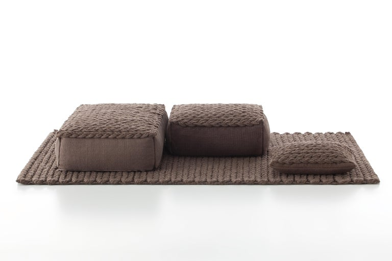For Sale: undefined (Brown) GAN Trenzas Pillow in Braided Wool 3
