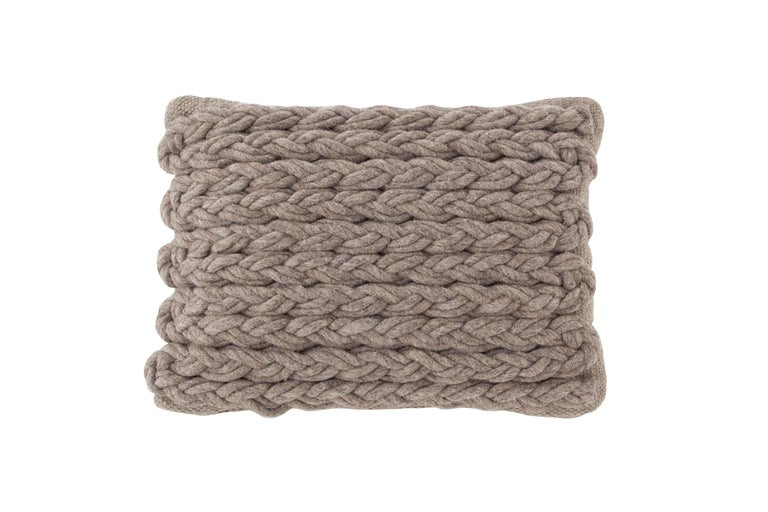 For Sale: undefined (Beige) GAN Trenzas Pillow in Braided Wool