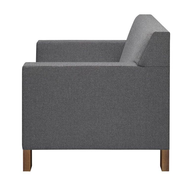 For Sale: Gray (Stone Lama) e15 Weissenhof Lounge Chair with Walnut Waxed Base by Ferdinand Kramer 2