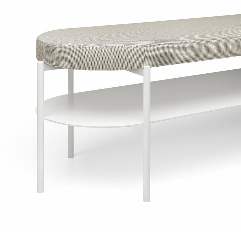 For Sale: Gray (Basel 123) e15 ELBE III Bench with Signal White Base by Marguerre, Besau and Schöning 2