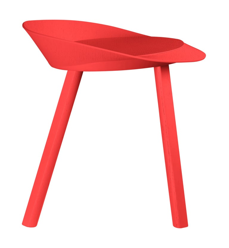 For Sale: Red (Neon Red Lacquer) e15 Mr. Collins Stool by Stefan Diez 2
