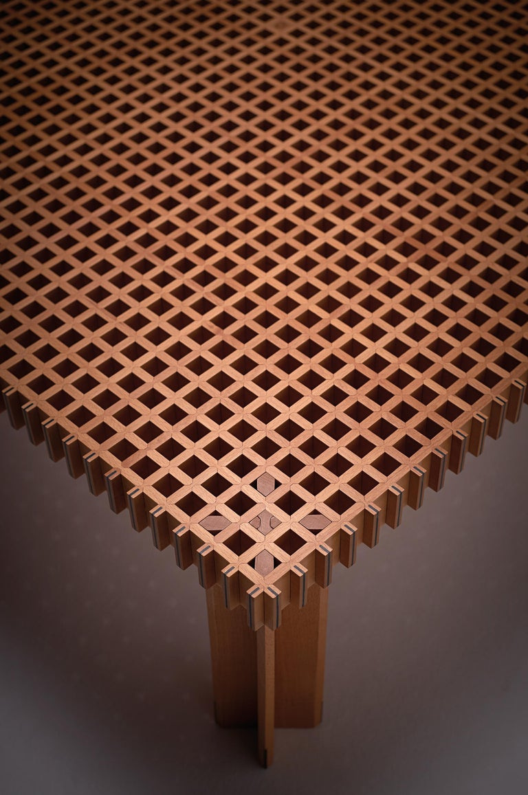For Sale: undefined (Brown) Gianfrano Frattini 113 Kyoto Patterned Wooden Coffee Table for Bottega Ghianda 2