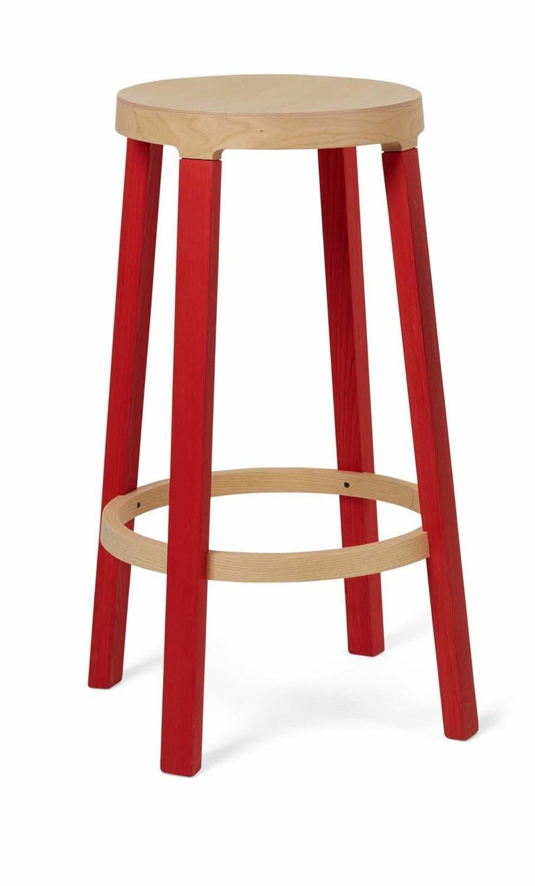 For Sale: Red (5165) Established & Sons Tall Step Stool in Wood by Federico Gregorutti
