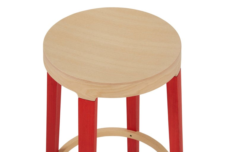 For Sale: Red (5165) Established & Sons Tall Step Stool in Wood by Federico Gregorutti 3