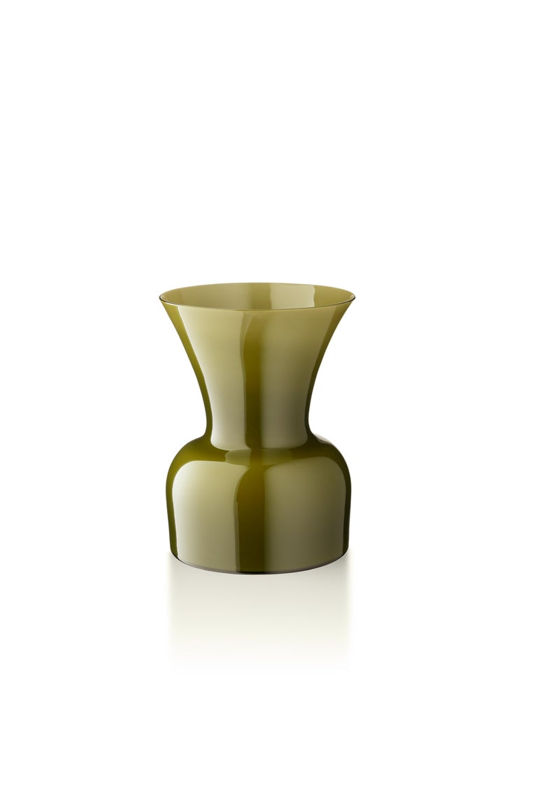 Green (10047) Small Profili Daisy Murano Glass Vase by Anna Gili