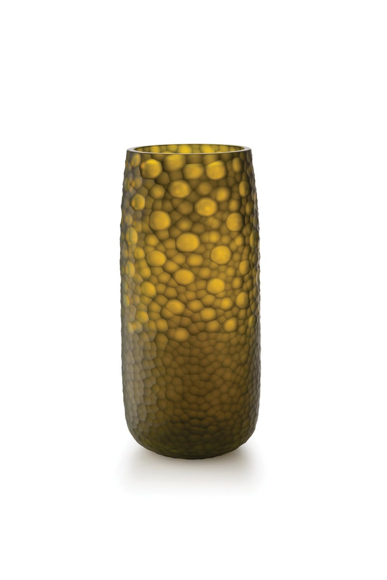 For Sale: Yellow (D6058) Medium Battuti Vase in Murano Glass by Salviati