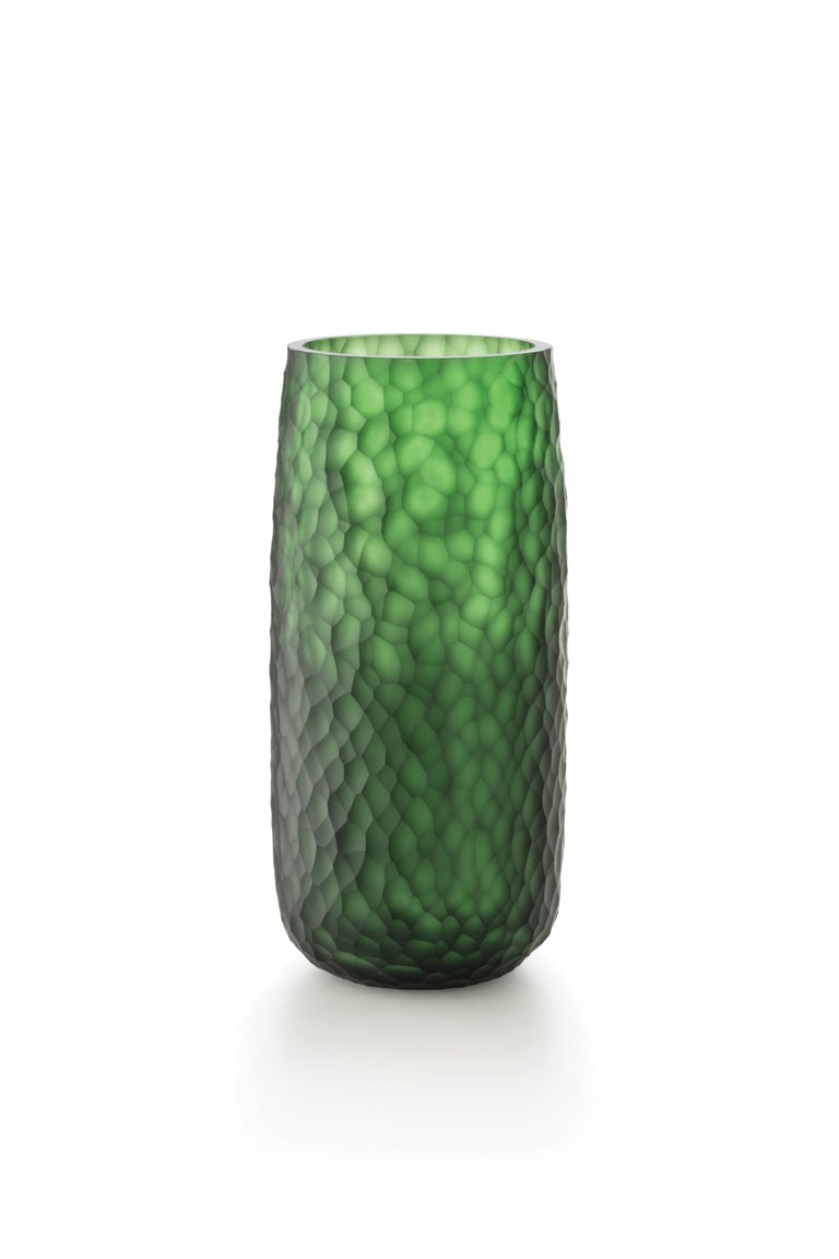 For Sale: Green (D6059) Medium Battuti Vase in Murano Glass by Salviati