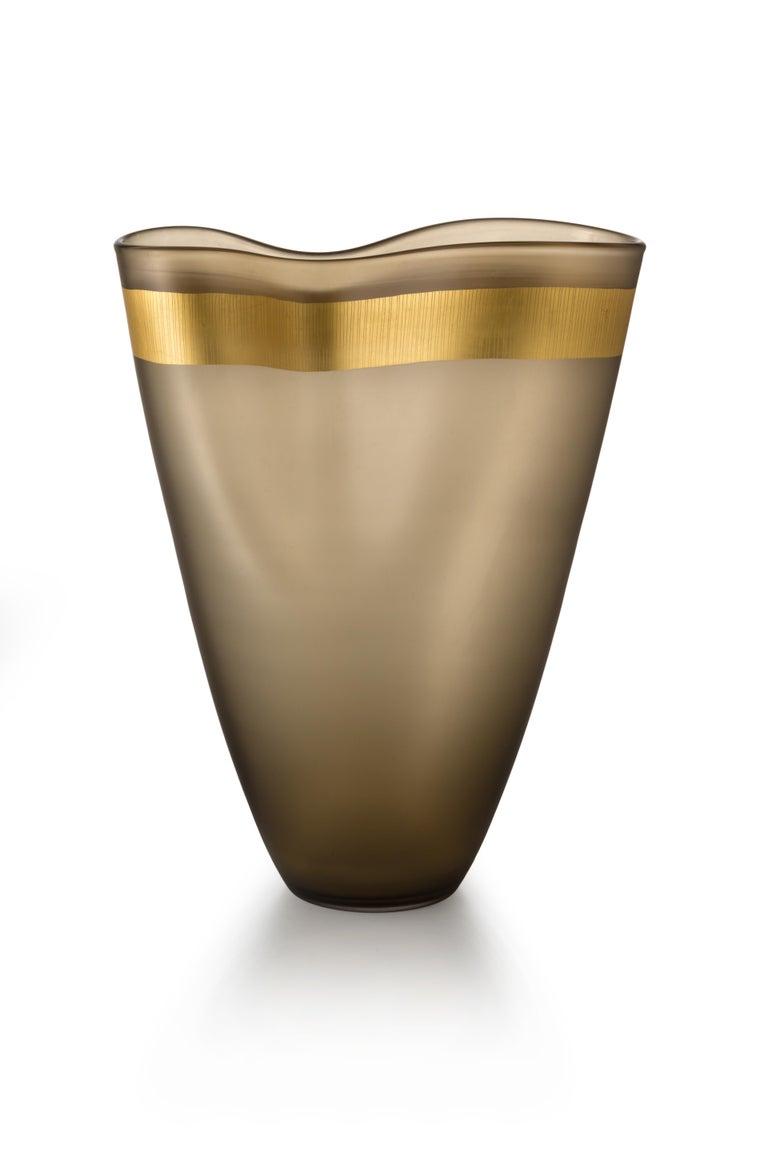 For Sale: Gray (53767) Large Pizzicati Vase in Hand Blown Murano Glass by Norberto Moretti