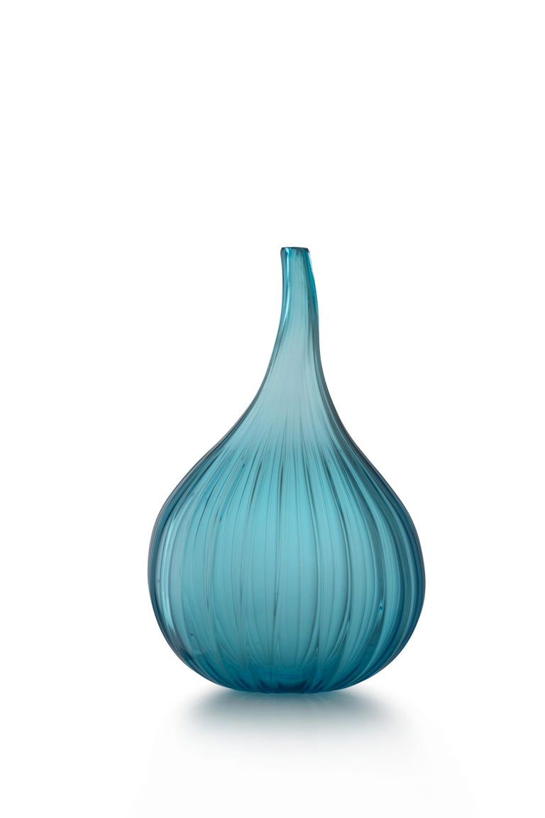 For Sale: Blue (73656) Large Drops Lucido Vase in Glass by Renzo Stellon
