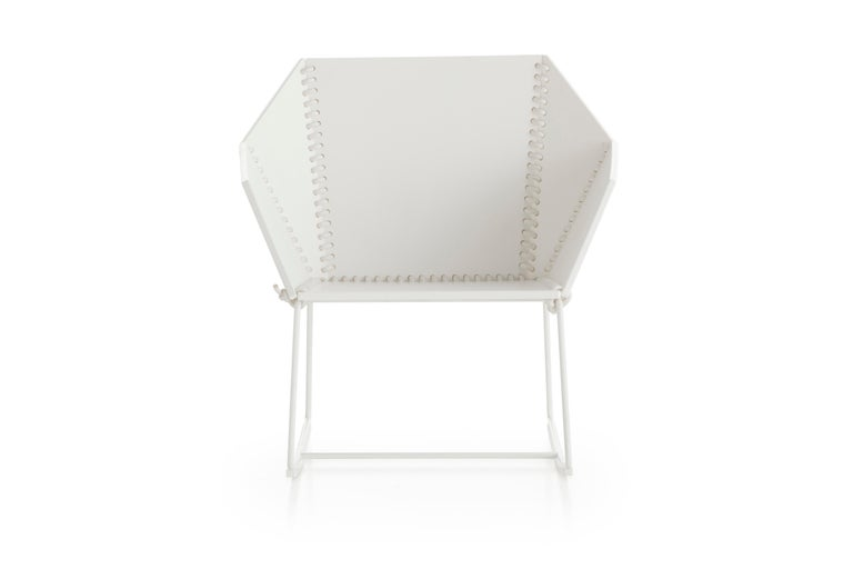 For Sale: White (RAL9016/whiterope.jpg) Gandia Blasco Textile Rocking Chair in Steel by Ana Llobet 2