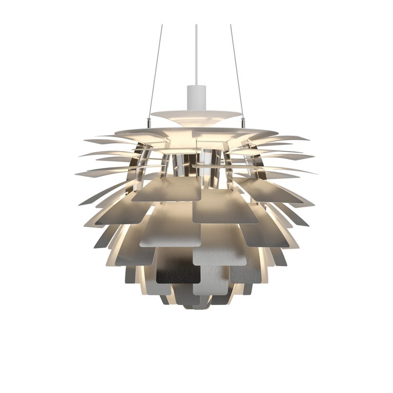 For Sale: Silver (steel.jpg) Louis Poulsen Medium PH Artichoke Pendant Light by Poul Henningsen