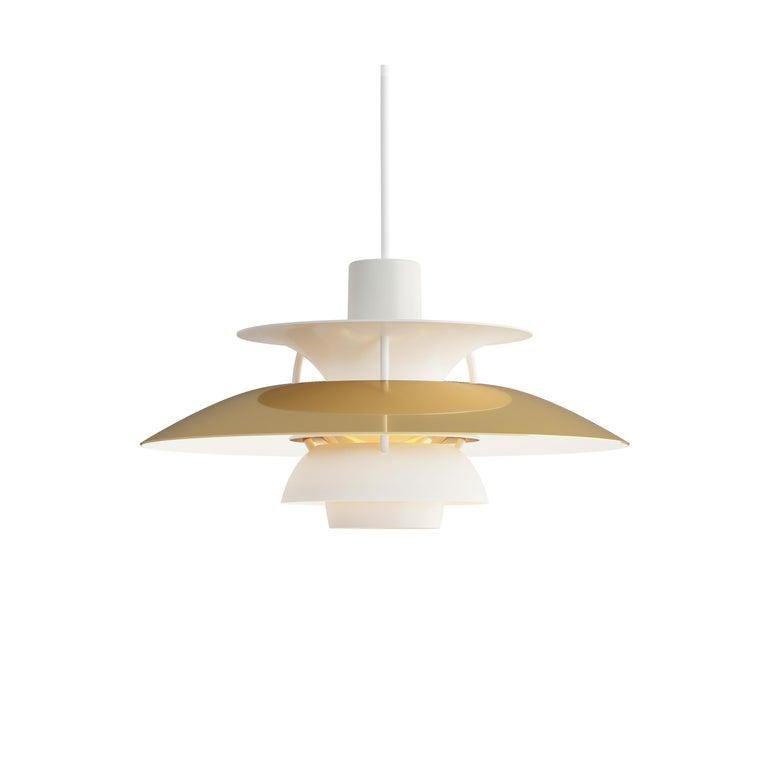 For Sale: Gold (brass.jpg) Louis Poulsen PH5 Mini Pendant Lamp by Poul Henningsen