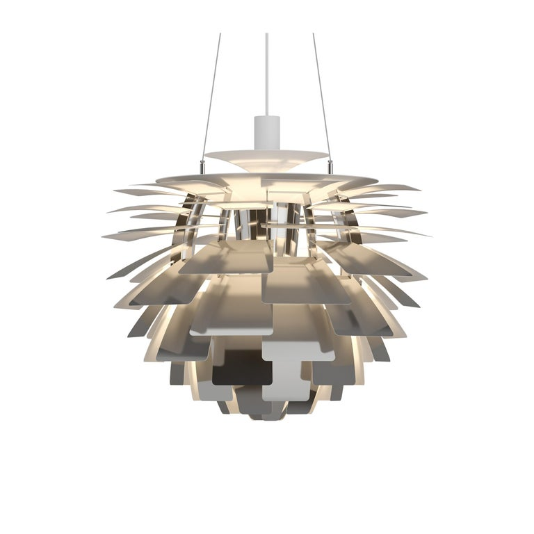 For Sale: Silver (stainless steel polish.jpg) Louis Poulsen Large PH Artichoke Pendant Light by Poul Henningsen