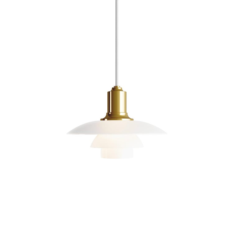 For Sale: Gold (brass.jpg) Louis Poulsen PH 2/1 Pendant Light by Poul Henningsen