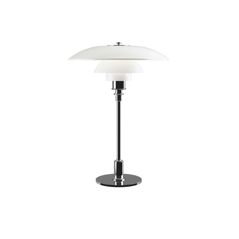 For Sale: Silver (chrome.jpg) Louis Poulsen PH 3½-2½ Glass Table Lamp by Poul Henningsen