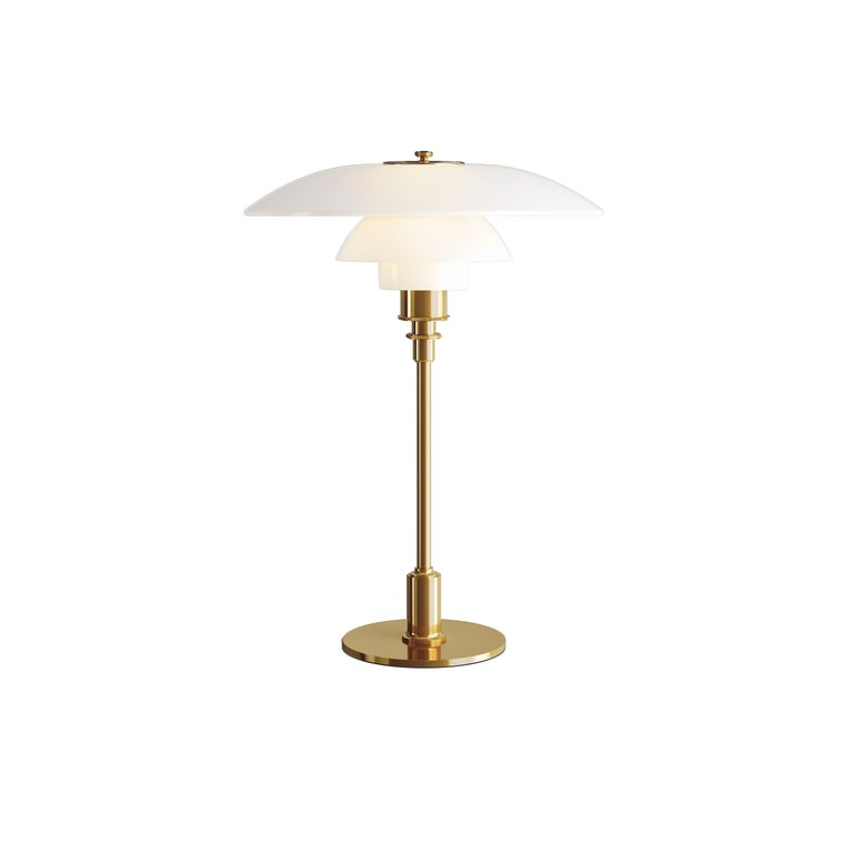 For Sale: Gold (brass.jpg) Louis Poulsen PH 3½-2½ Glass Table Lamp by Poul Henningsen