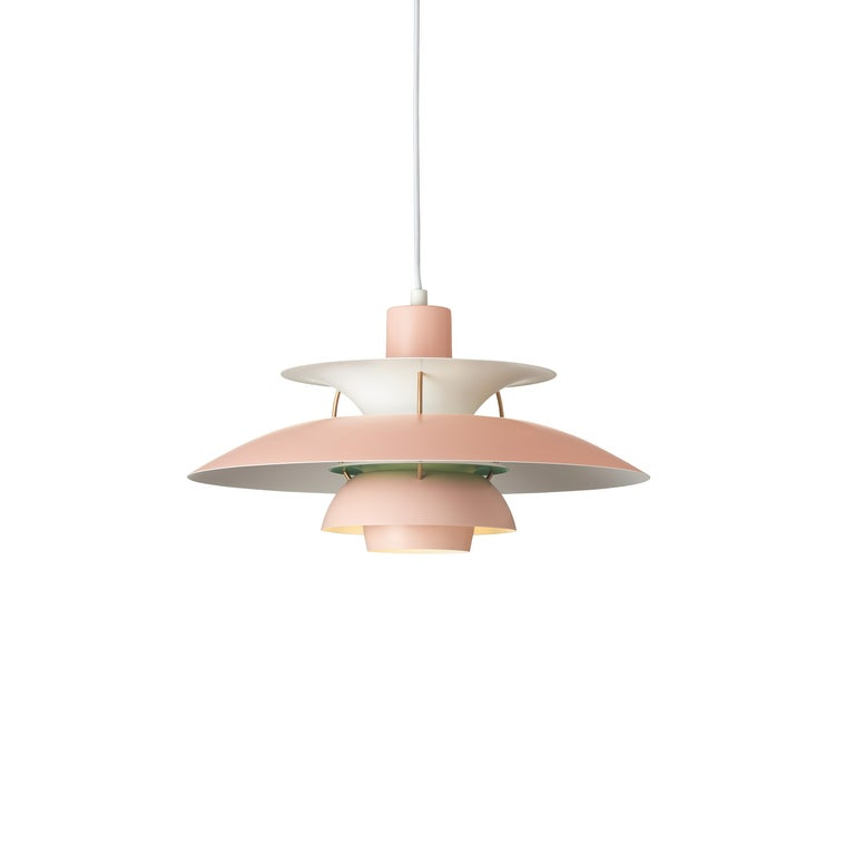 For Sale: Pink (pale rose.jpg) Louis Poulsen PH 5 Pendant Light by Poul Henningsen