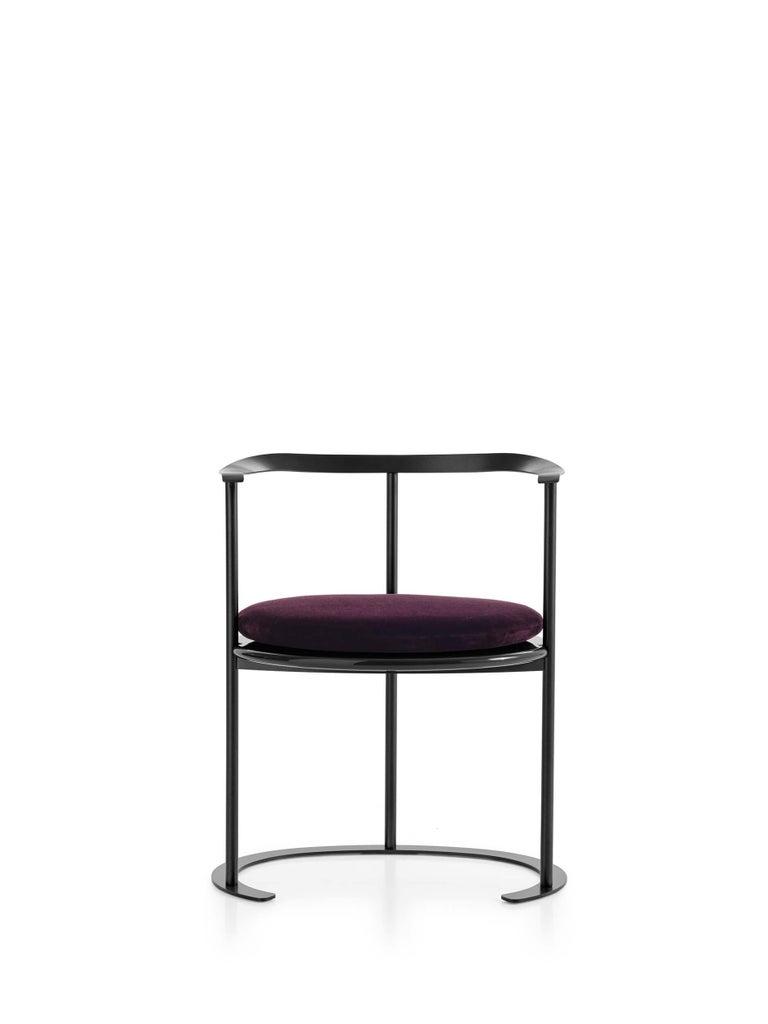 For Sale: Purple (MOHAIR/D VELVET AUBERGINE - 2971763) Azucena Catilina Small Armchair with Seat Cushion by Luigi Caccia Dominioni