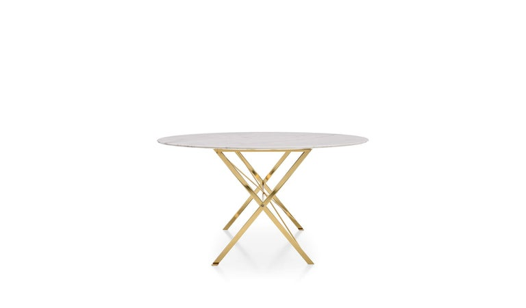 For Sale: Beige (0184P Glossy Calacatta White) Azucena Small Cavalletto Oval Table by Luigi Caccia Dominioni