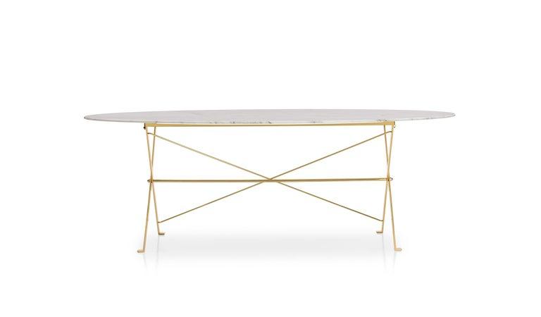 For Sale: Beige (0184P Glossy Calacatta White) Azucena Large Cavalletto Oval Table By Luigi Caccia Dominioni