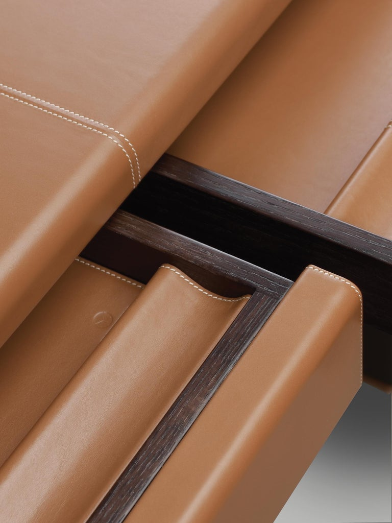 For Sale: Brown (smooth leather cognac.jpg) Promemoria Ernest Writing Desk in Leather and Wood by Romeo Sozzi 2