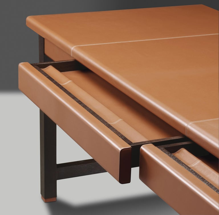 For Sale: Brown (smooth leather cognac.jpg) Promemoria Ernest Writing Desk in Leather and Wood by Romeo Sozzi 4