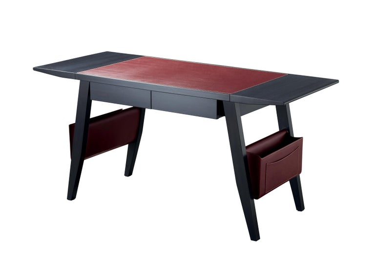For Sale: Red (smooth leather rosso rubino.jpg) Promemoria Isaac Writing Desk in Leather and Wood by Romeo Sozzi 2