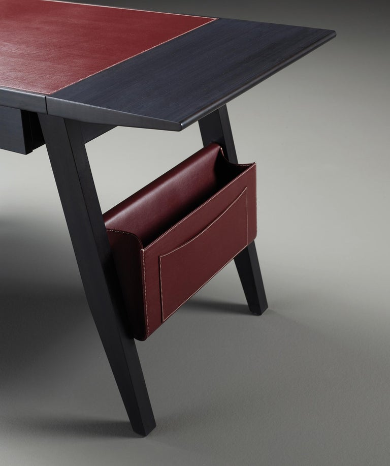 For Sale: Red (smooth leather rosso rubino.jpg) Promemoria Isaac Writing Desk in Leather and Wood by Romeo Sozzi 3