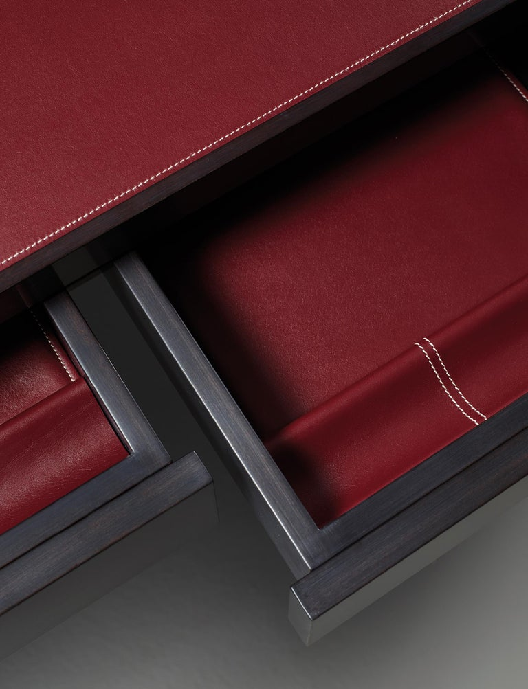 For Sale: Red (smooth leather rosso rubino.jpg) Promemoria Isaac Writing Desk in Leather and Wood by Romeo Sozzi 4