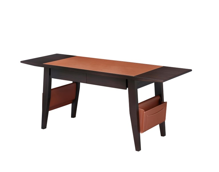 For Sale: Brown (smooth leather cognac.jpg) Promemoria Isaac Writing Desk in Leather and Wood by Romeo Sozzi