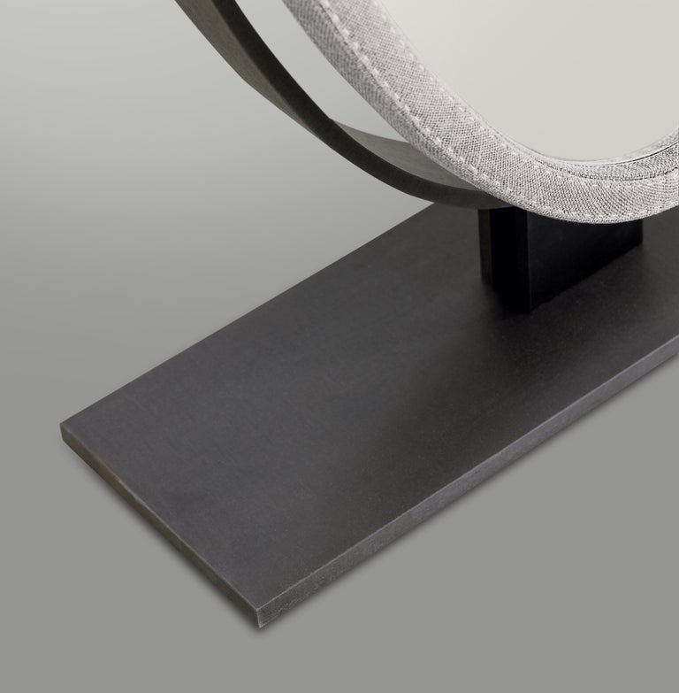 For Sale: Gray (man in grey 20.jpg) Promemoria Ingrid Mirror in Bronze and Fabric Covering by Romeo Sozzi 2