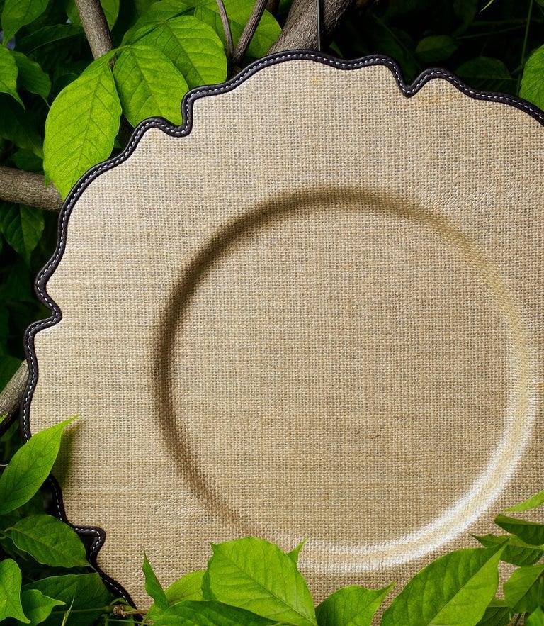 For Sale: Brown (dark yuta.jpg) Promemoria Ibisco Underplate in Leather by Romeo Rozzi 2