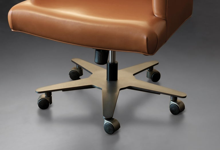 For Sale: Brown (smooth leather cognac.jpg) Promemoria Isotta Office Armchair in Leather and Dark Bronze by Romeo Sozzi  2
