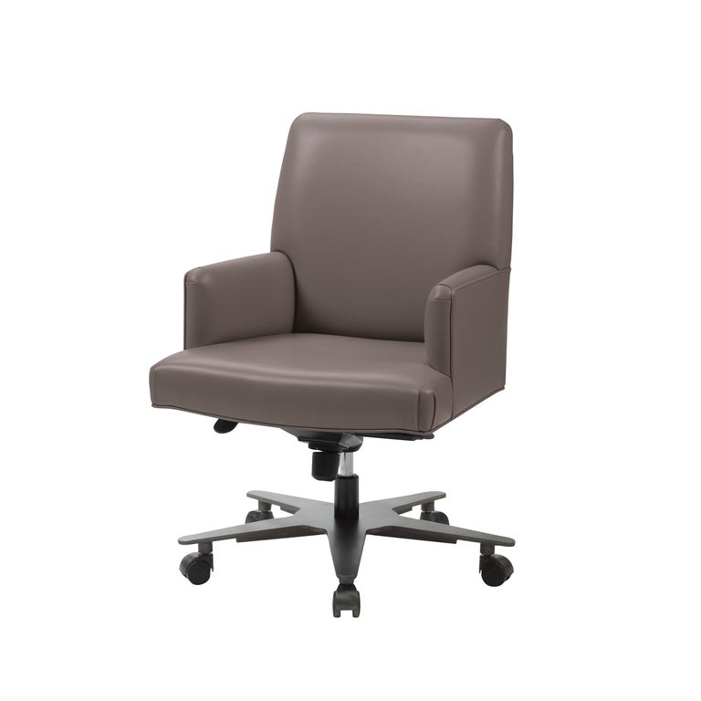 For Sale: Purple (smooth leather mauve.jpg) Promemoria Isotta Office Armchair in Leather and Dark Bronze by Romeo Sozzi