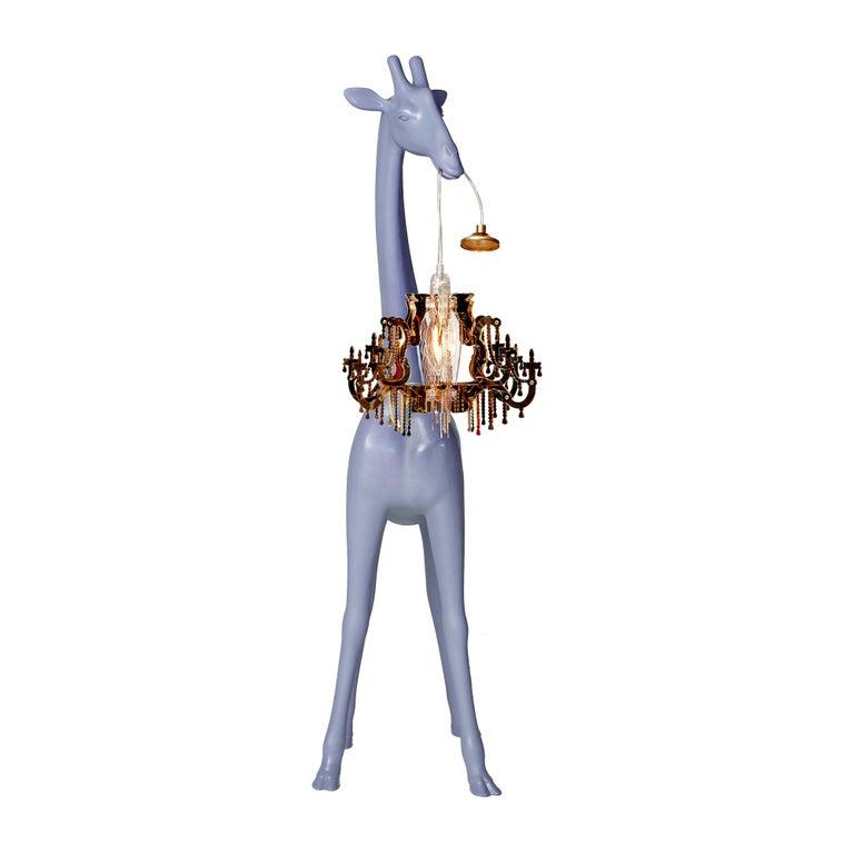 For Sale: Blue (Stormy Grey) Qeeboo Giraffe in Love XS Lamp by Marcantonio 3