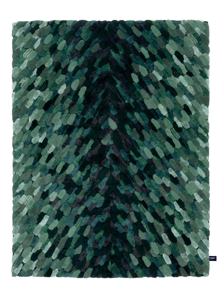 For Sale: Green (Forest) CC-Tapis Envolee Rug by Cristina Celestino
