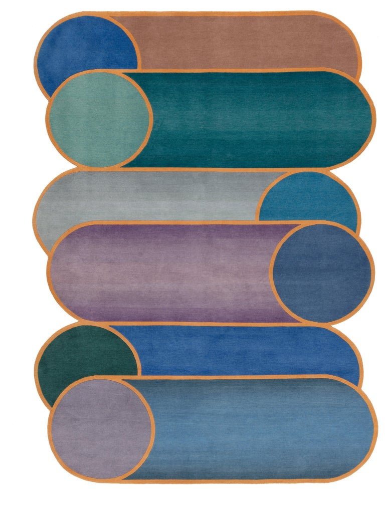 For Sale: Blue CC-Tapis Rotazioni A Rug by Patricia Urquiola