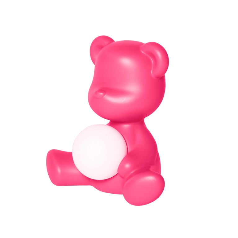 For Sale: Pink (Fuxia) Modern Purple Green Orange Pink White Blue Black or Yellow Teddy Bear Table Lamp 3