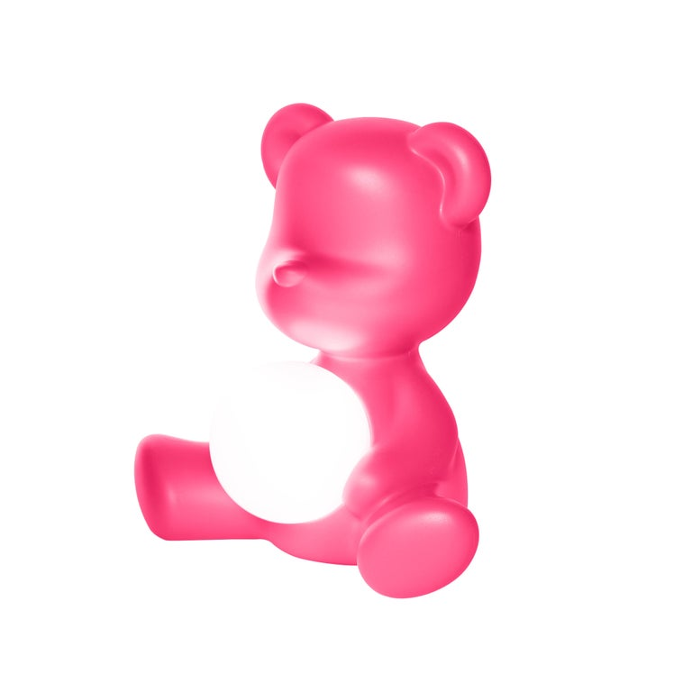For Sale: Pink (Fuxia) Modern Purple Green Orange Pink White Blue Black or Yellow Teddy Bear Table Lamp 4