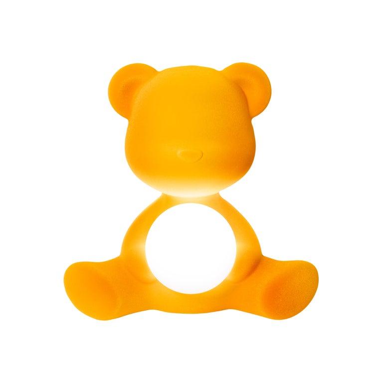 For Sale: Gold (Dark Gold) Modern Velvet Yellow Sculptural Teddybear Table or Floor Lamp 2